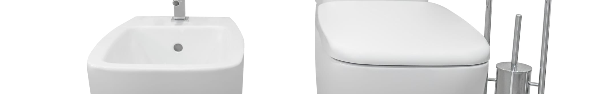 Image of white toilet and bidet isolated on white background